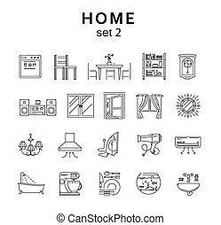 Home related icons set2, vector illustration, line icons -...