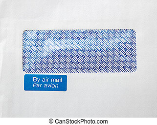 Envelope with window and By air mail, par avion blue sticker