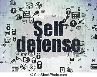 Protection concept: Self Defense on Digital Paper background...