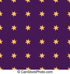 Seamless patterns with gold stars on purple background. Vector illustration