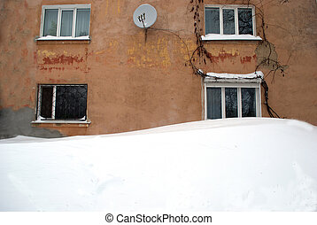 snowbank near the house of the month of January