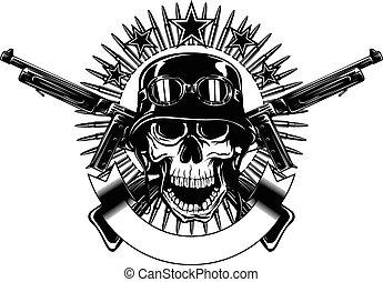 skull in helmet and crossed machine gun