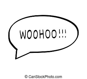 Woohoo text message bubble, vector background