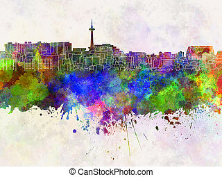 Kyoto skyline in watercolor background
