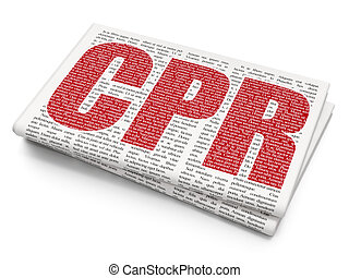 Medicine concept: CPR on Newspaper background - Medicine...
