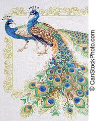 "Embroidery cross-stitch ""Peafowl"" - Two peacock with..."