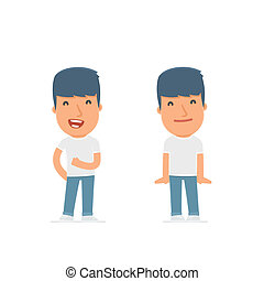 Funny Character Activist in confident and shy poses for use...