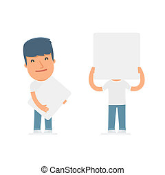 Funny Character Activist holds and interacts with blank...