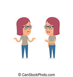Frustrated Character Girl Designer can not help to solve the problem