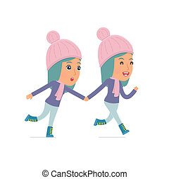 Happy and Joyful Character Winter Girl runs and drags his...