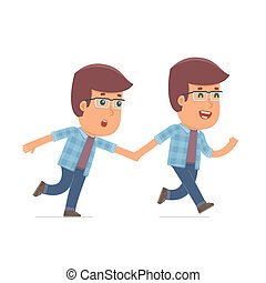 Happy and Joyful Character Freelancer runs and drags his...