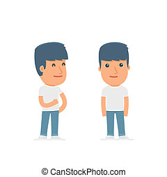 Happy Character Activist standing in relaxed pose for use in...