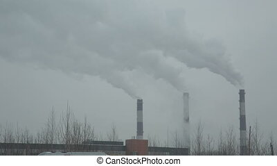 Industrial chimney smoke background