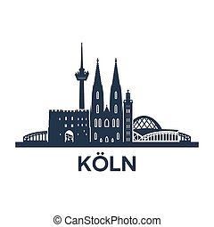 Cologne Skyline Emblem - Abstract skyline of city Cologne in...