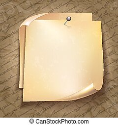 Old note paper with black pin on text pattern background.
