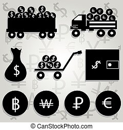 monochrome vector illustration of financial icons