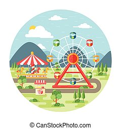 Carnival Flat - Carnival, amusement park flat illustration