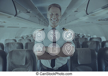 Enjoy your flight Digitally composed icon set over a picture...