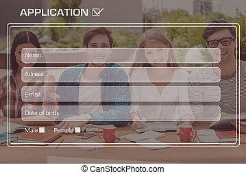 College application Picture of four cheerful students...