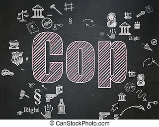 Law concept: Cop on School Board background