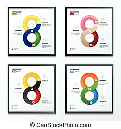 eight circle infographic set 4 styles