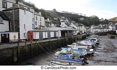 Polperro Cornwall out of season - English harbour Polperro...