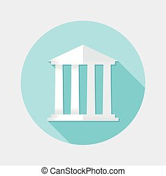 Flat design financial building icon