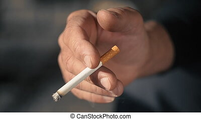 Mature Man With Cigarette In Hand_ - Cigarette In Mans Hand...