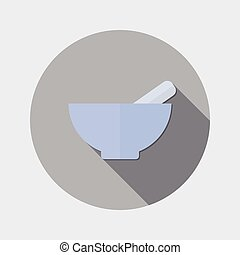 Flat design mortar and pestle icon - An illustration of flat...