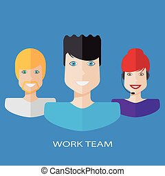 Flat workteam illustration - An illustration of a work team...