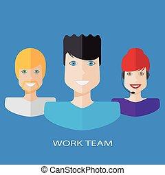 Flat workteam illustration - An illustration of a work team...