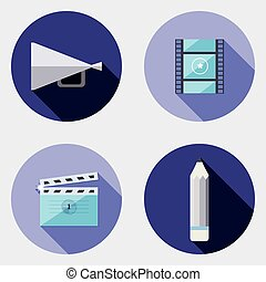 Flat design creativity icons 3 - An illustration with...