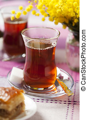 Baklava - Turkish black tea in traditional tea glass
