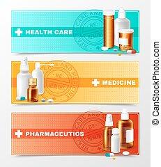 Medicines Banners Set - Medicines realistic horizontal...