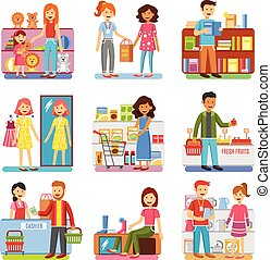 Family Shopping Concept Flat PIctograms Collection - Family...