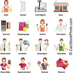 Salesman Flat Color Icons Set - Salesman flat color icons...