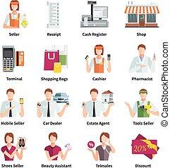 Salesman Flat Color Icons Set - Salesman flat color icons...