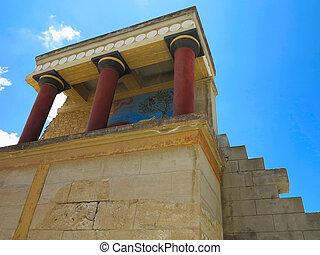 ruínas, de, a, Minoan, Palácio, de, Knossos, em, Heraklion,...