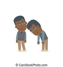 Tired and Exhausted Character African American Teacher...