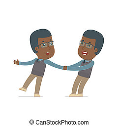 Funny and Cheerful Character African American Teacher drags...