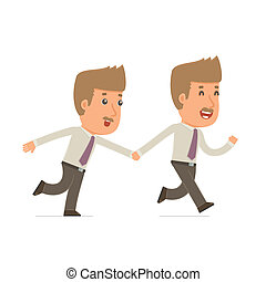 Happy and Joyful Character Broker runs and drags his friend...