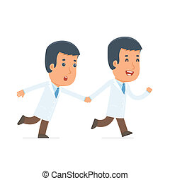 Happy and Joyful Character Doctor runs and drags his friend...