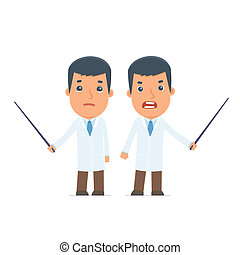 Angry and Sad Character Doctor making presentation using...