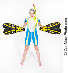 standing young woman wearing neoprene with snorkeling...