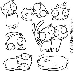 Cats Line Art Collection for Kids Design
