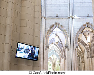 Modern cathedral with lcd tv - Detailed view of modern...