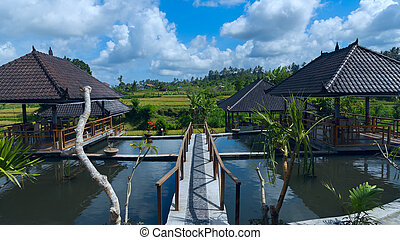Pavilions on the background of the rice fields in Bali