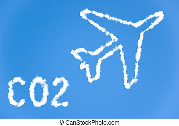 CO2 airline emissions - An illustration of an airplane with...