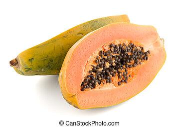Fresh and tasty papaya on white background