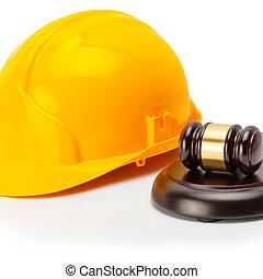 Protective helmet with wooden judge gavel